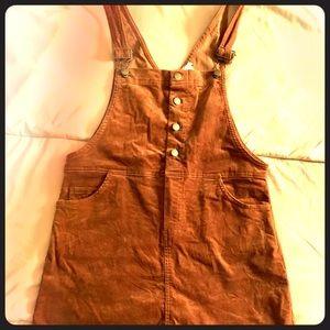 Corduroy Brown Overall Dress